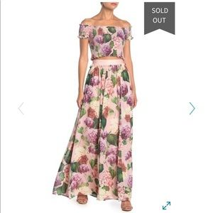 Misty floral print crop top and maxi skirt